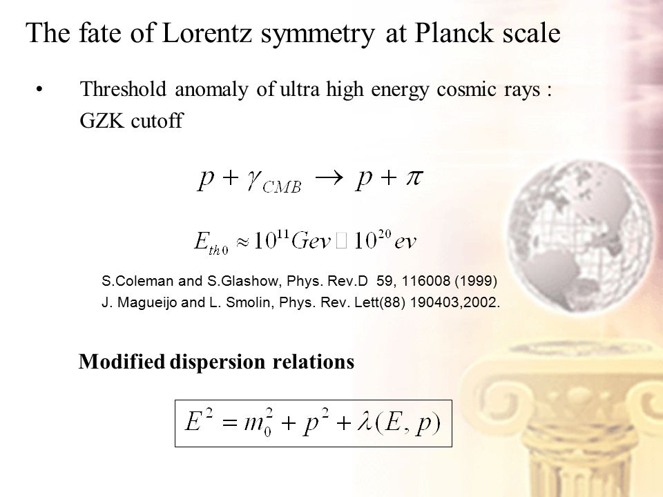 The fate of Lorentz symmetry at Planck scale Threshold anomaly of ultra high energy cosmic rays : GZK cutoff S.Coleman and S.Glashow, Phys.