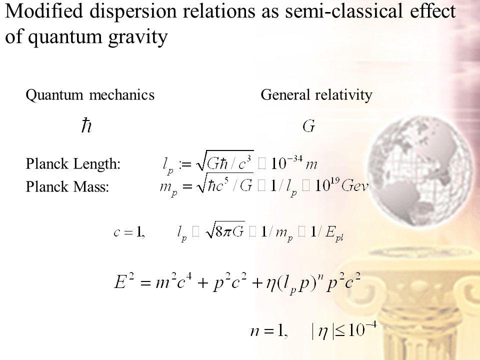 Modified dispersion relations as semi-classical effect of quantum gravity Quantum mechanics General relativity Planck Length: Planck Mass: