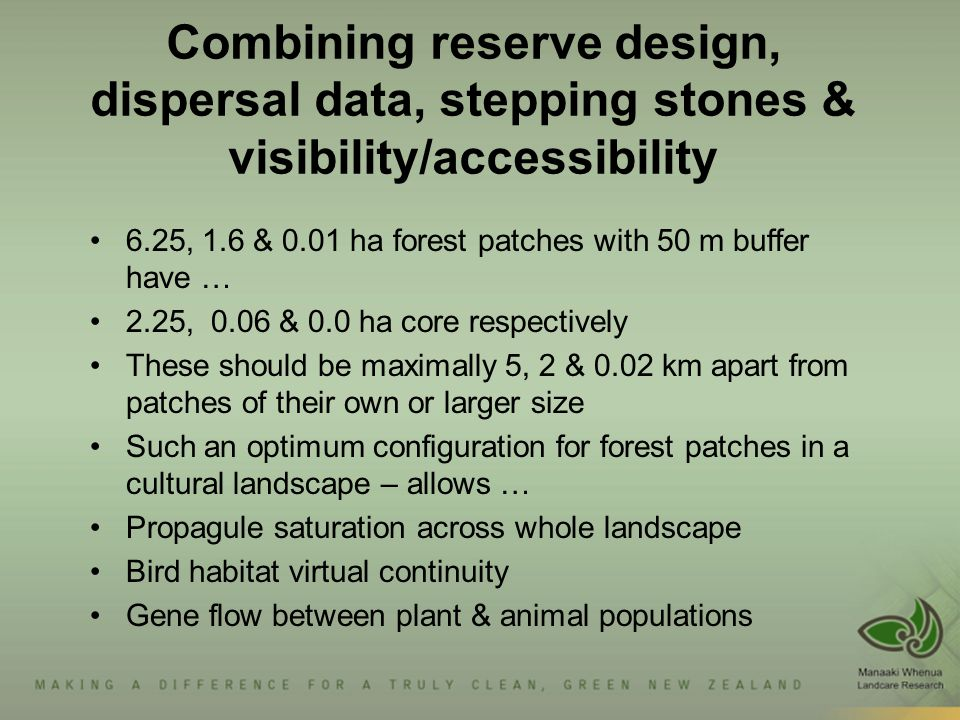 Combining reserve design, dispersal data, stepping stones & visibility/accessibility 6.25, 1.6 & 0.01 ha forest patches with 50 m buffer have … 2.25, 0.06 & 0.0 ha core respectively These should be maximally 5, 2 & 0.02 km apart from patches of their own or larger size Such an optimum configuration for forest patches in a cultural landscape – allows … Propagule saturation across whole landscape Bird habitat virtual continuity Gene flow between plant & animal populations