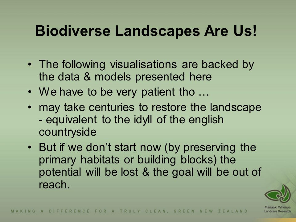 Biodiverse Landscapes Are Us.