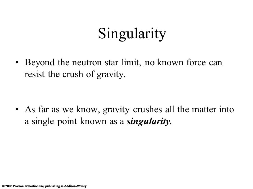 Singularity Beyond the neutron star limit, no known force can resist the crush of gravity.