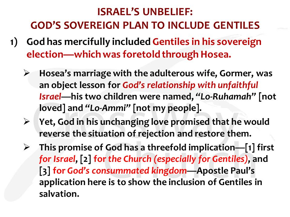 ISRAEL'S UNBELIEF: GOD'S SOVEREIGN PLAN TO INCLUDE GENTILES 1)God has mercifully included Gentiles in his sovereign election—which was foretold through Hosea.