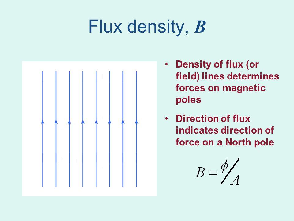 Flux density, B Higher flux density exerts more force on magnetic poles