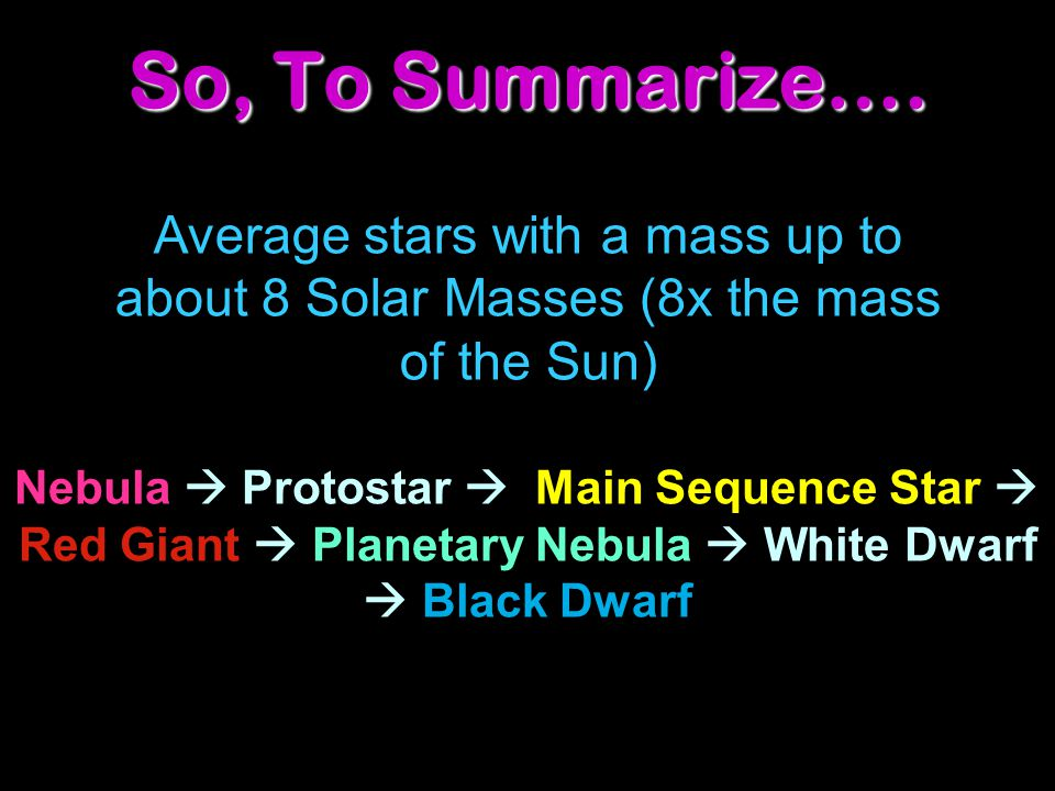 Average stars with a mass up to about 8 Solar Masses (8x the mass of the Sun) Nebula  Protostar  Main Sequence Star  Red Giant  Planetary Nebula 