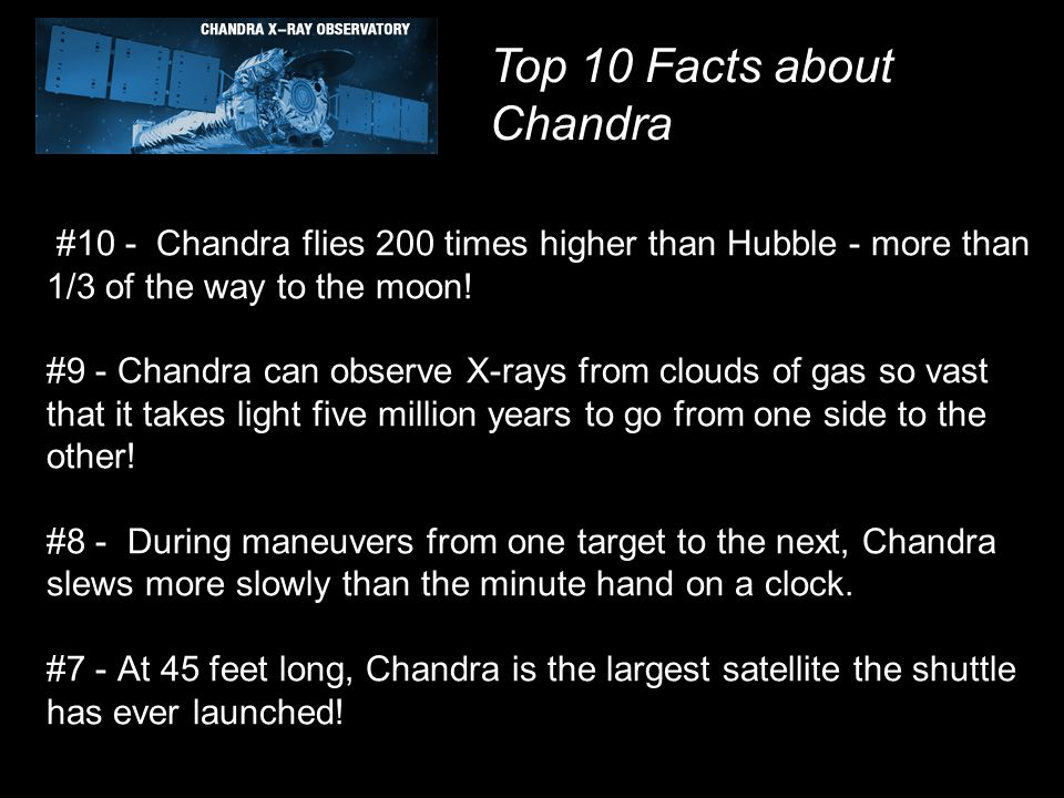 #10 - Chandra flies 200 times higher than Hubble - more than 1/3 of the way to the moon! #9 - Chandra can observe X-rays from clouds of gas so vast th