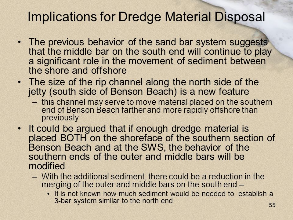 55 Implications for Dredge Material Disposal The previous behavior of the sand bar system suggests that the middle bar on the south end will continue