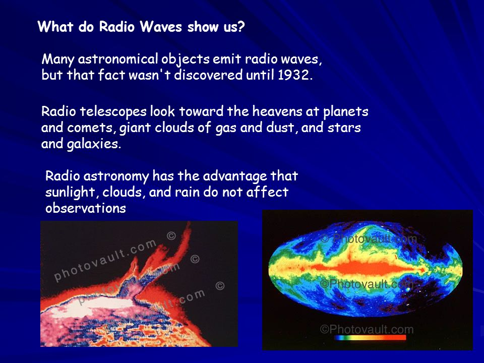 What do Radio Waves show us? Many astronomical objects emit radio waves, but that fact wasn't discovered until 1932. Radio telescopes look toward the