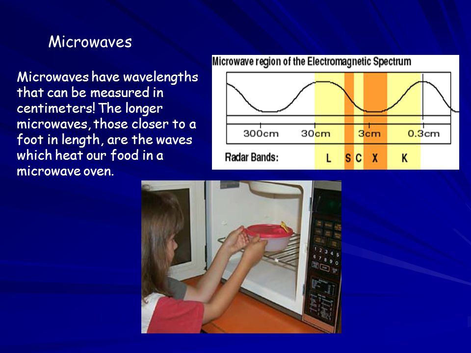 Microwaves Microwaves have wavelengths that can be measured in centimeters! The longer microwaves, those closer to a foot in length, are the waves whi