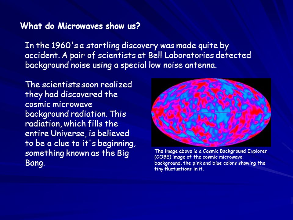 What do Microwaves show us? In the 1960's a startling discovery was made quite by accident. A pair of scientists at Bell Laboratories detected backgro