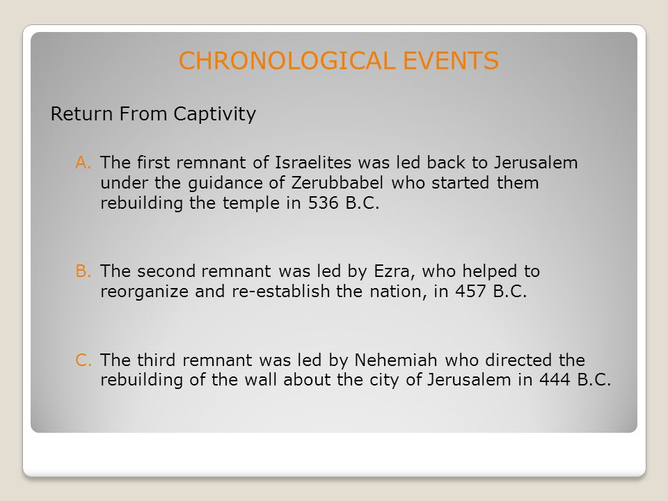 CHRONOLOGICAL EVENTS Return From Captivity A.The first remnant of Israelites was led back to Jerusalem under the guidance of Zerubbabel who started th