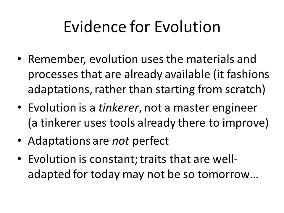 Evidence for Evolution Remember, evolution uses the materials and processes that are already available (it fashions adaptations, rather than starting from scratch) Evolution is a tinkerer, not a master engineer (a tinkerer uses tools already there to improve) Adaptations are not perfect Evolution is constant; traits that are well- adapted for today may not be so tomorrow…