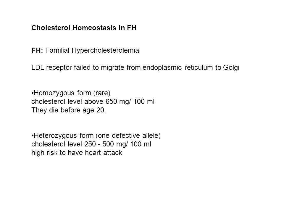 Cholesterol Homeostasis in FH FH: Familial Hypercholesterolemia LDL receptor failed to migrate from endoplasmic reticulum to Golgi Homozygous form (rare) cholesterol level above 650 mg/ 100 ml They die before age 20.
