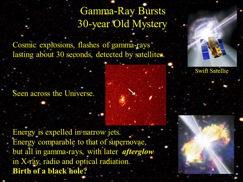 Gamma-Ray Bursts 30-year Old Mystery Cosmic explosions, flashes of gamma-rays lasting about 30 seconds, detected by satellites.