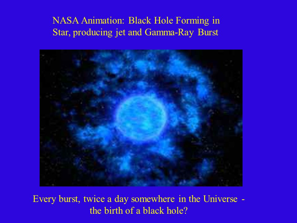 NASA Animation: Black Hole Forming in Star, producing jet and Gamma-Ray Burst Every burst, twice a day somewhere in the Universe - the birth of a black hole