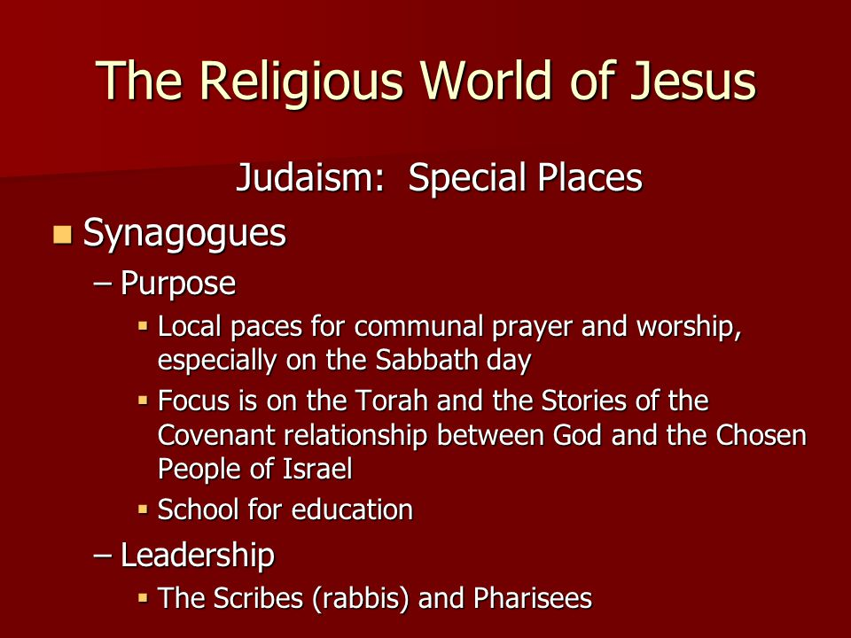 The Religious World of Jesus Judaism: Special Places Synagogues Synagogues –Purpose  Local paces for communal prayer and worship, especially on the Sabbath day  Focus is on the Torah and the Stories of the Covenant relationship between God and the Chosen People of Israel  School for education –Leadership  The Scribes (rabbis) and Pharisees