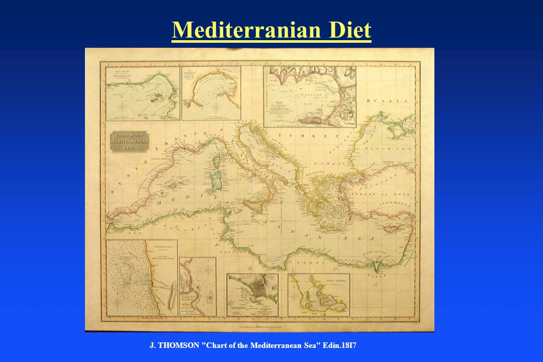 Mediterranian Diet J. THOMSON Chart of the Mediterranean Sea Edin.18I7