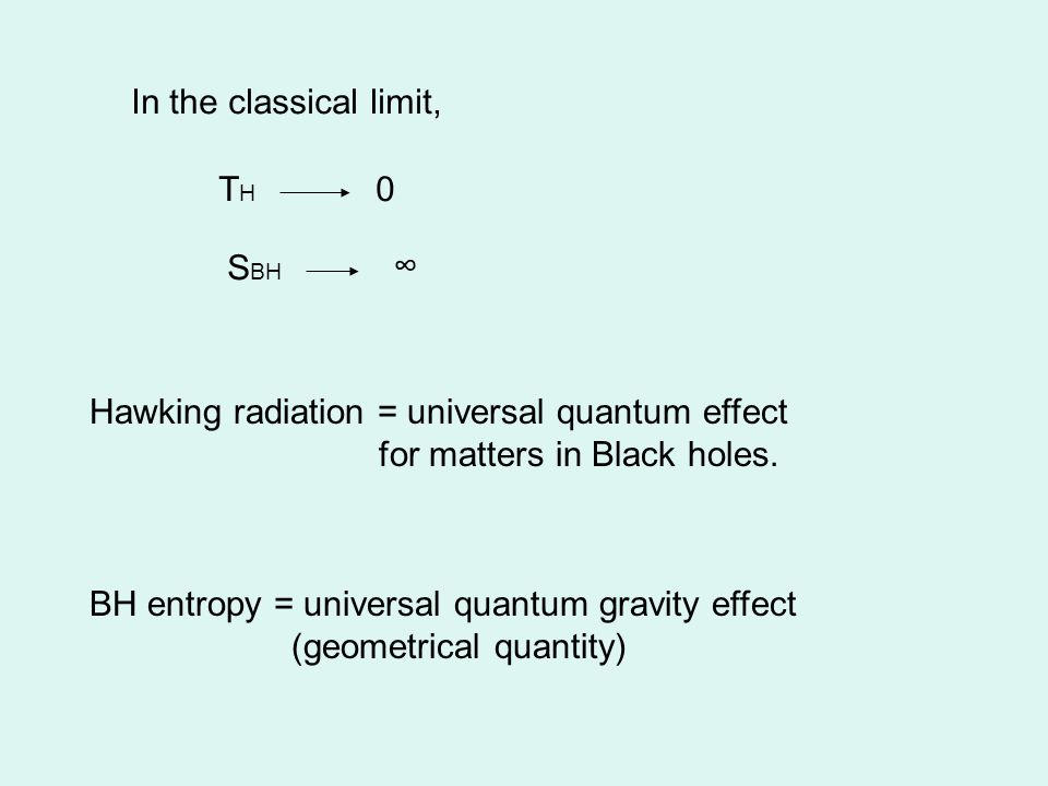In the classical limit, THTH 0 S BH ∞ Hawking radiation = universal quantum effect for matters in Black holes.