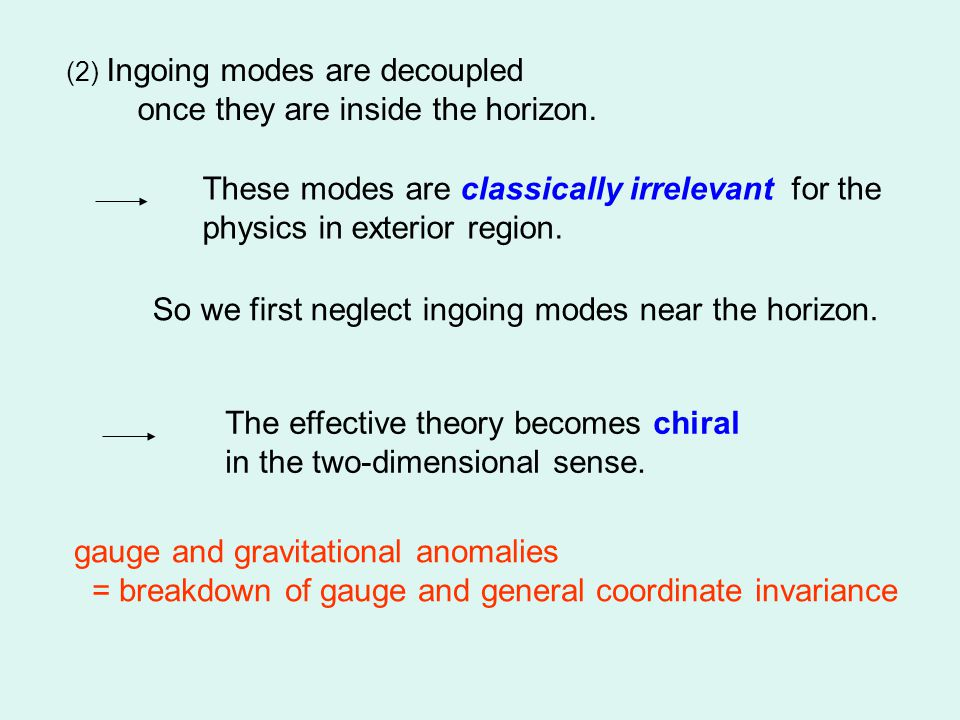 (2) Ingoing modes are decoupled once they are inside the horizon.