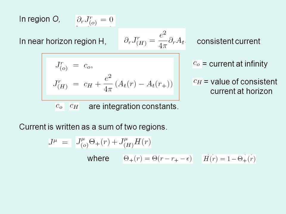 In region O, In near horizon region H, are integration constants.