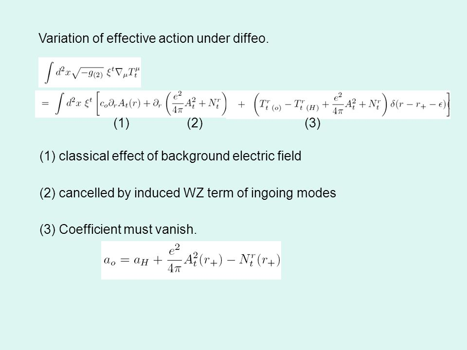 Variation of effective action under diffeo.