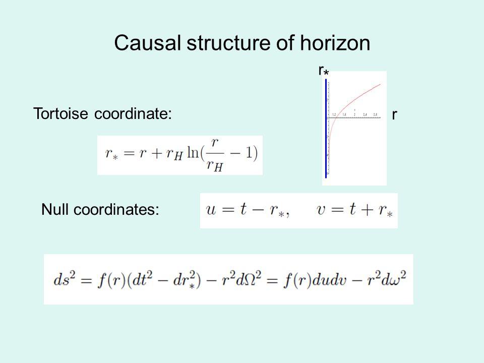 Causal structure of horizon Null coordinates: Tortoise coordinate: r * r