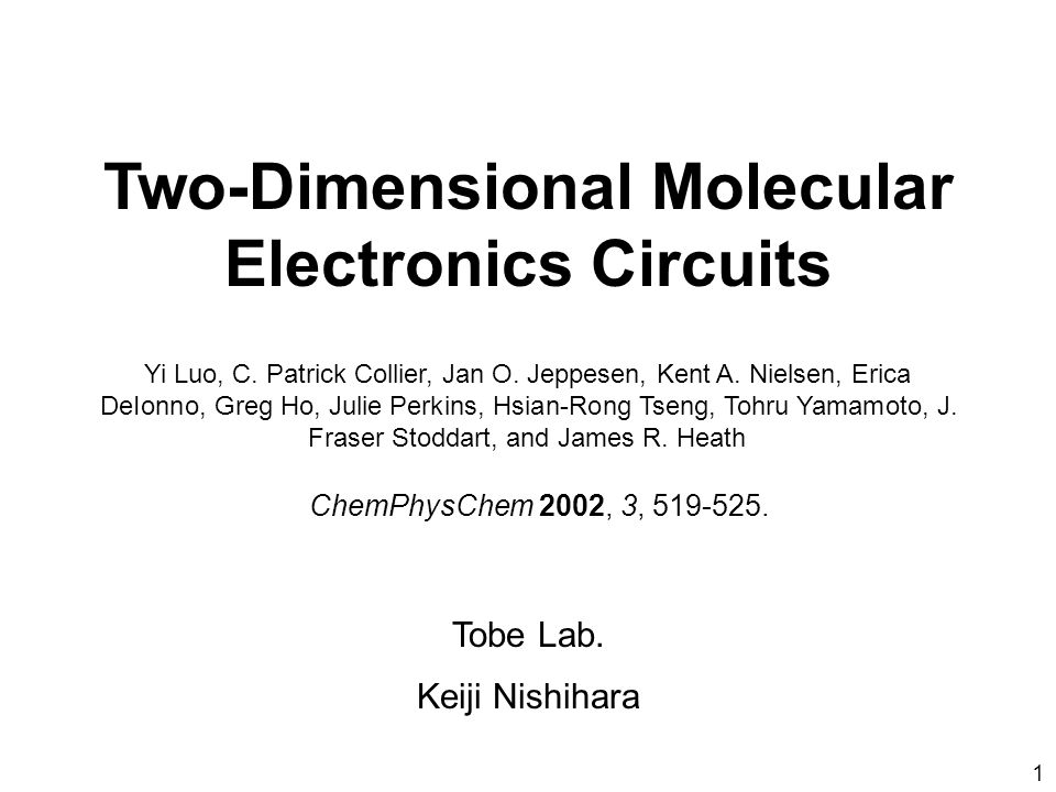 Two-Dimensional Molecular Electronics Circuits Yi Luo, C.