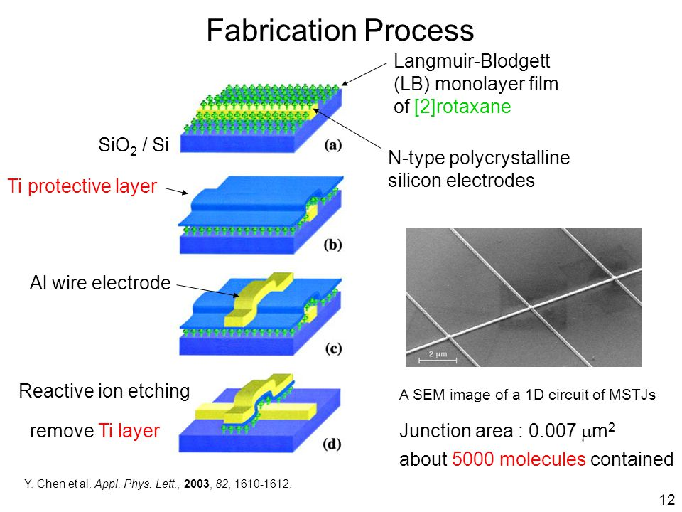 Fabrication Process A SEM image of a 1D circuit of MSTJs Junction area : 0.007  m 2 about 5000 molecules contained Y.