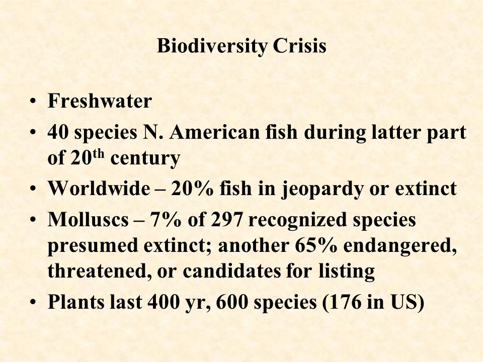 Biodiversity Crisis Freshwater 40 species N.