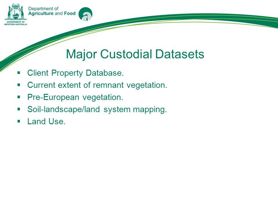 Major Custodial Datasets  Client Property Database.