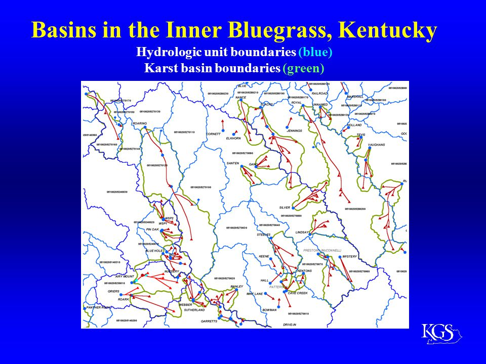 Basins in the Western Pennyroyal, Kentucky Hydrologic Unit Boundaries (blue) Karst basin boundaries (green) HUC boundaries make significant excursions from karst basin boundaries.