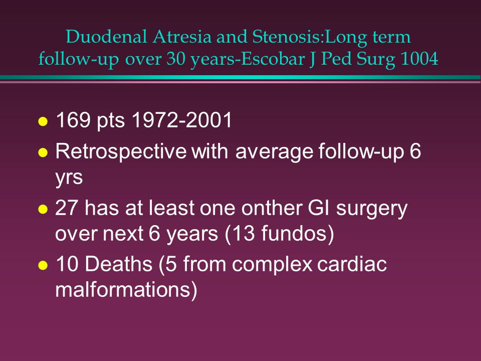 Duodenal Atresia and Stenosis:Long term follow-up over 30 years-Escobar J Ped Surg 1004 l 169 pts 1972-2001 l Retrospective with average follow-up 6 yrs l 27 has at least one onther GI surgery over next 6 years (13 fundos) l 10 Deaths (5 from complex cardiac malformations)