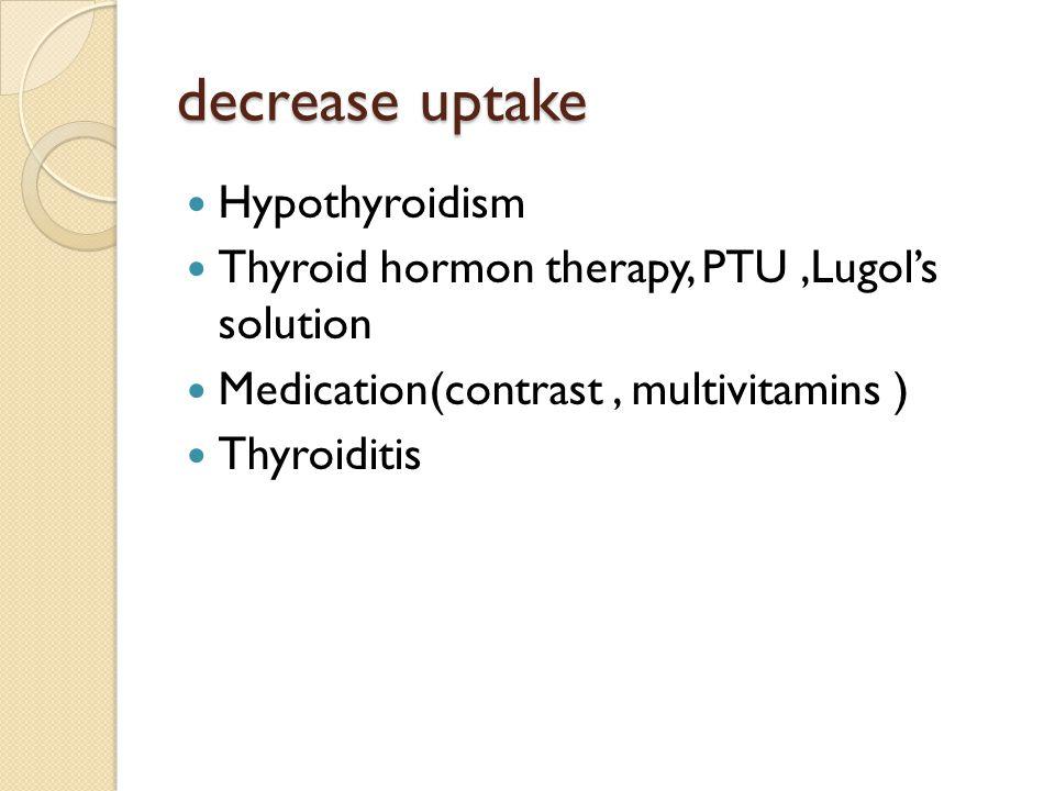 Increase uptake Hyperthyroidism Iodine starvation Thyroiditis Hypoalbominemia lithium