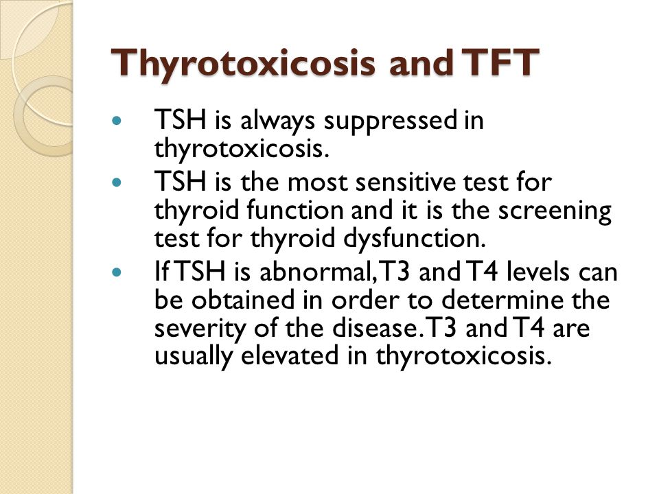 Thyroiditis and exogenous thyroid hormone intake Early phase sub-acute thyroiditis: inflammation of thyroid gland that leads to release of stored thyroid hormone due to follicular cell destruction.