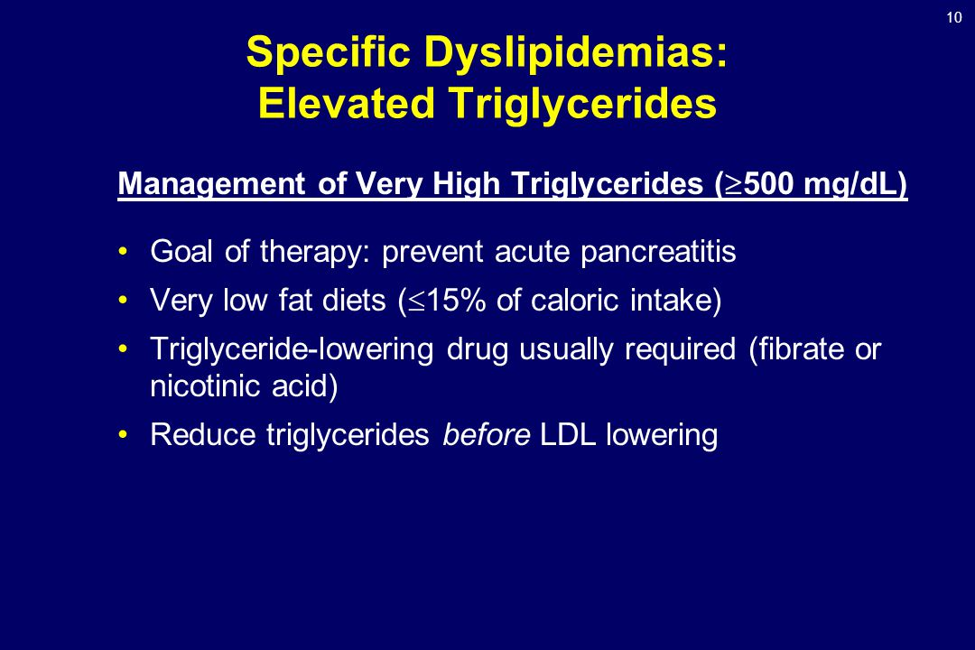 10 Specific Dyslipidemias: Elevated Triglycerides Management of Very High Triglycerides (  500 mg/dL) Goal of therapy: prevent acute pancreatitis Very low fat diets (  15% of caloric intake) Triglyceride-lowering drug usually required (fibrate or nicotinic acid) Reduce triglycerides before LDL lowering
