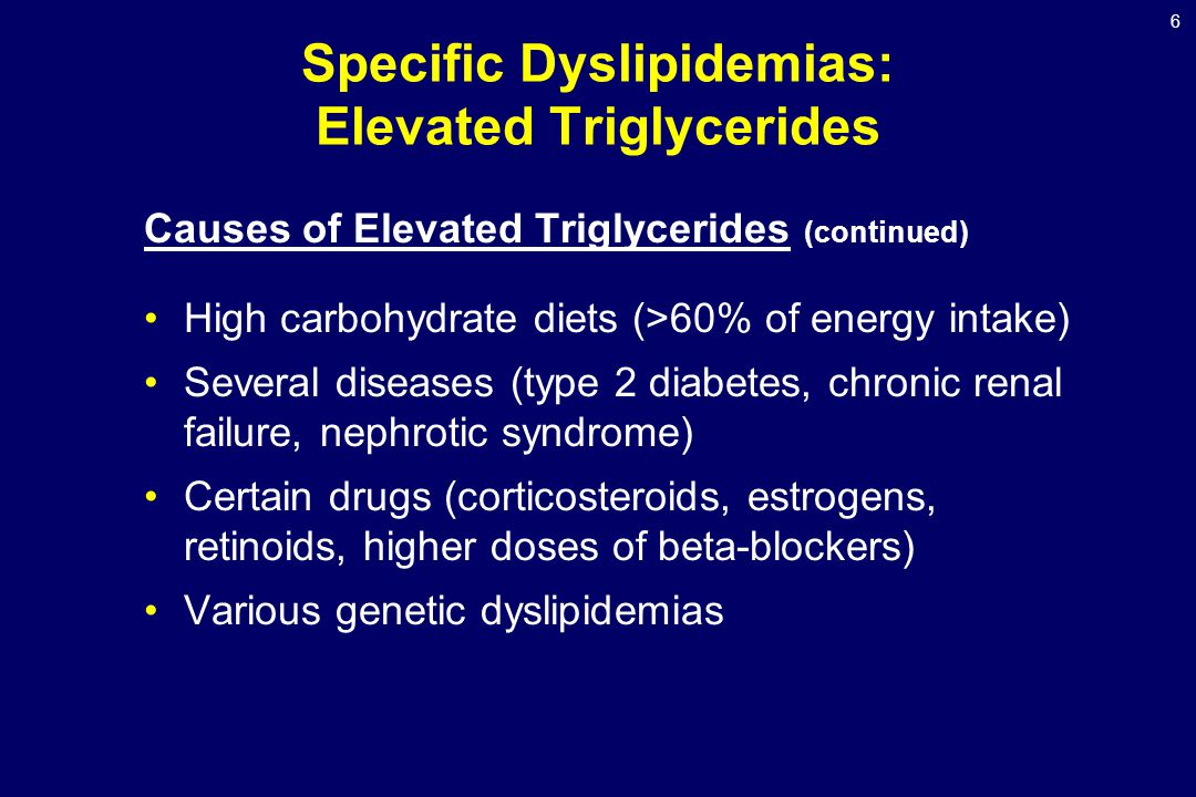 6 Specific Dyslipidemias: Elevated Triglycerides Causes of Elevated Triglycerides (continued) High carbohydrate diets (>60% of energy intake) Several diseases (type 2 diabetes, chronic renal failure, nephrotic syndrome) Certain drugs (corticosteroids, estrogens, retinoids, higher doses of beta-blockers) Various genetic dyslipidemias