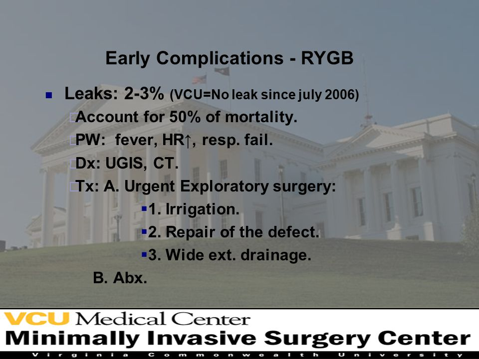 Leaks: 2-3% (VCU=No leak since july 2006)  Account for 50% of mortality.
