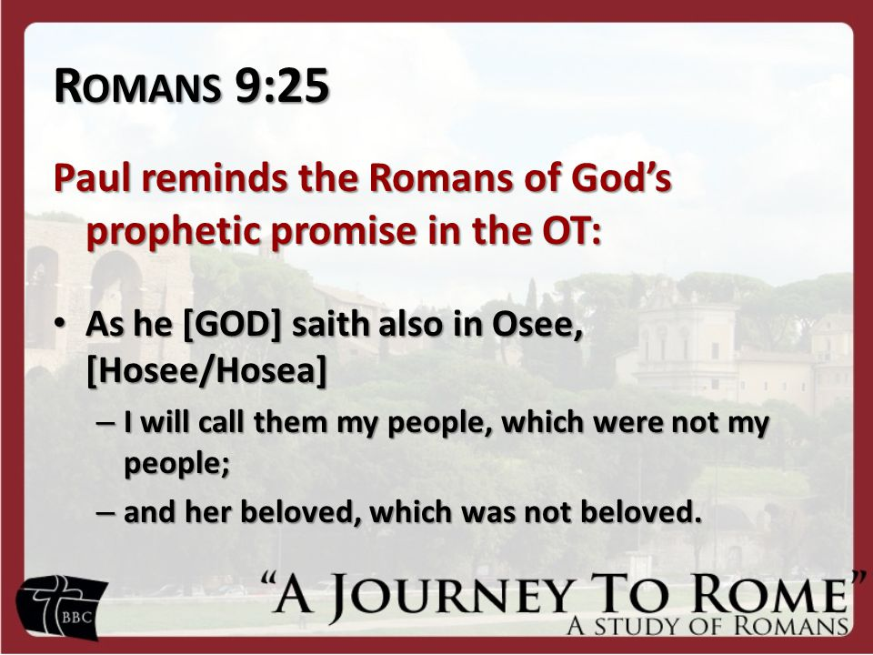 C OMMENTARY People who do NOT have a lineage to the group that is identified as God's chosen people—the Israelites—are now going to be called the people of God.