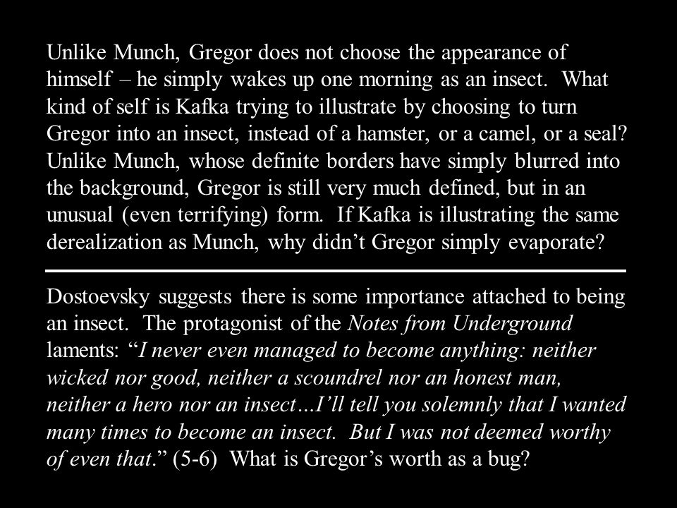 Unlike Munch, Gregor does not choose the appearance of himself – he simply wakes up one morning as an insect. What kind of self is Kafka trying to ill