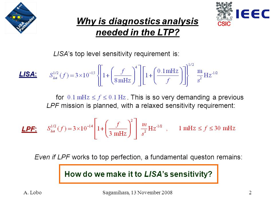 A. LoboSagamihara, 13 November 20082 Why is diagnostics analysis needed in the LTP? for. This is so very demanding a previous LPF mission is planned,