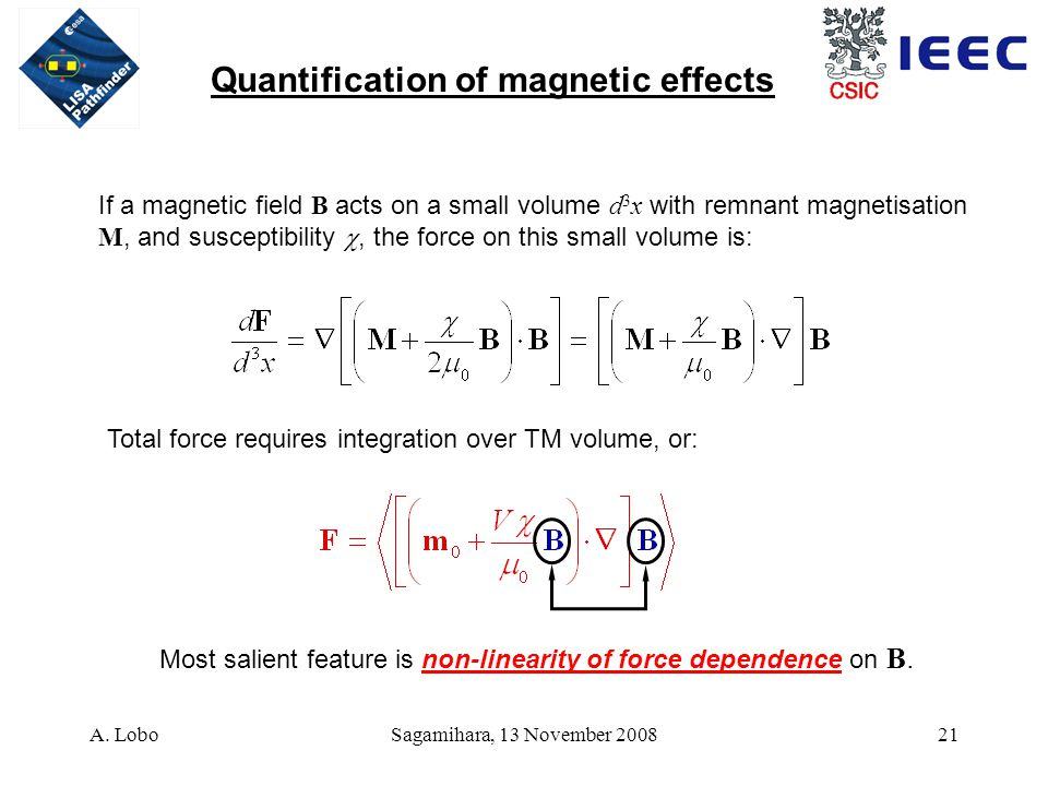 A. LoboSagamihara, 13 November 200821 If a magnetic field B acts on a small volume d 3 x with remnant magnetisation M, and susceptibility , the force