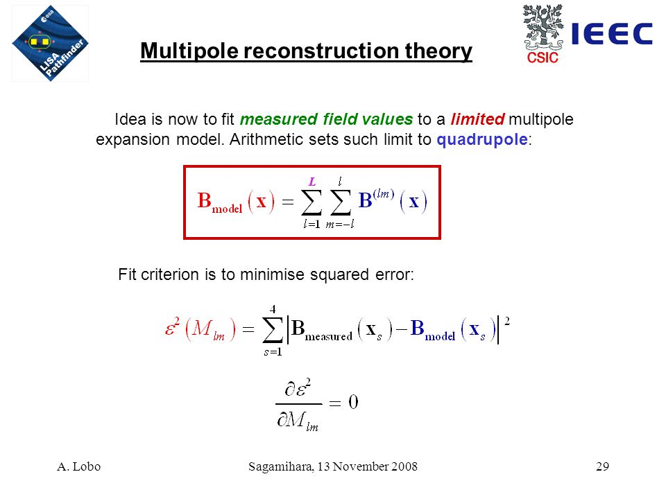 A. LoboSagamihara, 13 November 200829 Multipole reconstruction theory Idea is now to fit measured field values to a limited multipole expansion model.