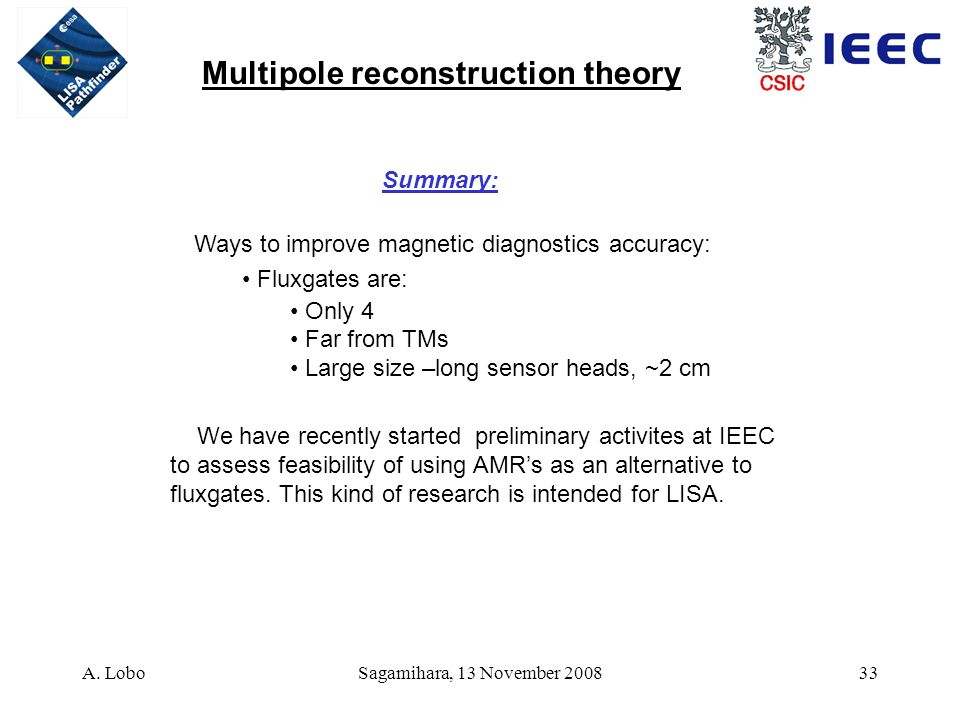 A. LoboSagamihara, 13 November 200833 Ways to improve magnetic diagnostics accuracy: Fluxgates are: Only 4 Far from TMs Large size –long sensor heads,