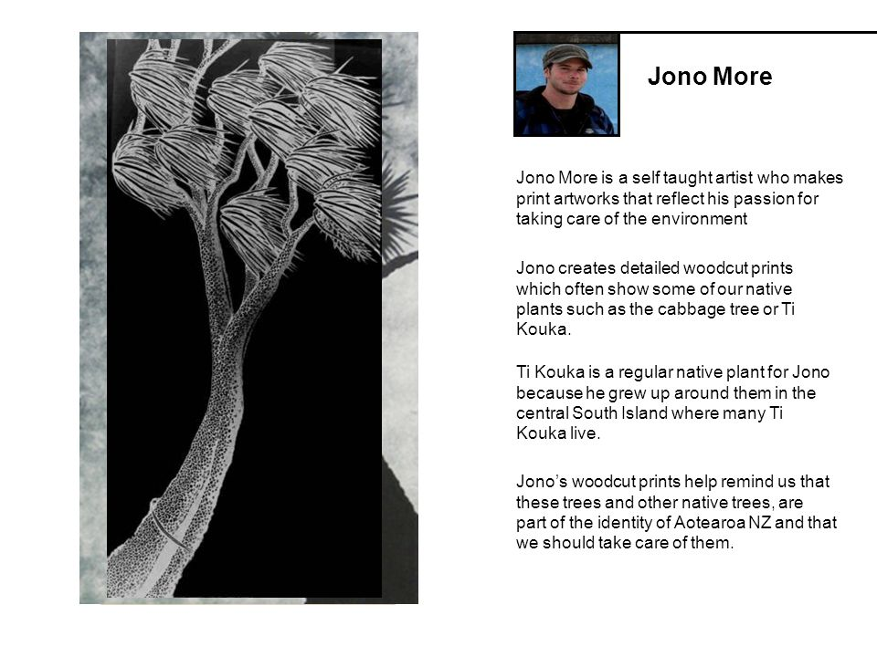 Jono More Jono More is a self taught artist who makes print artworks that reflect his passion for taking care of the environment Jono creates detailed woodcut prints which often show some of our native plants such as the cabbage tree or Ti Kouka.