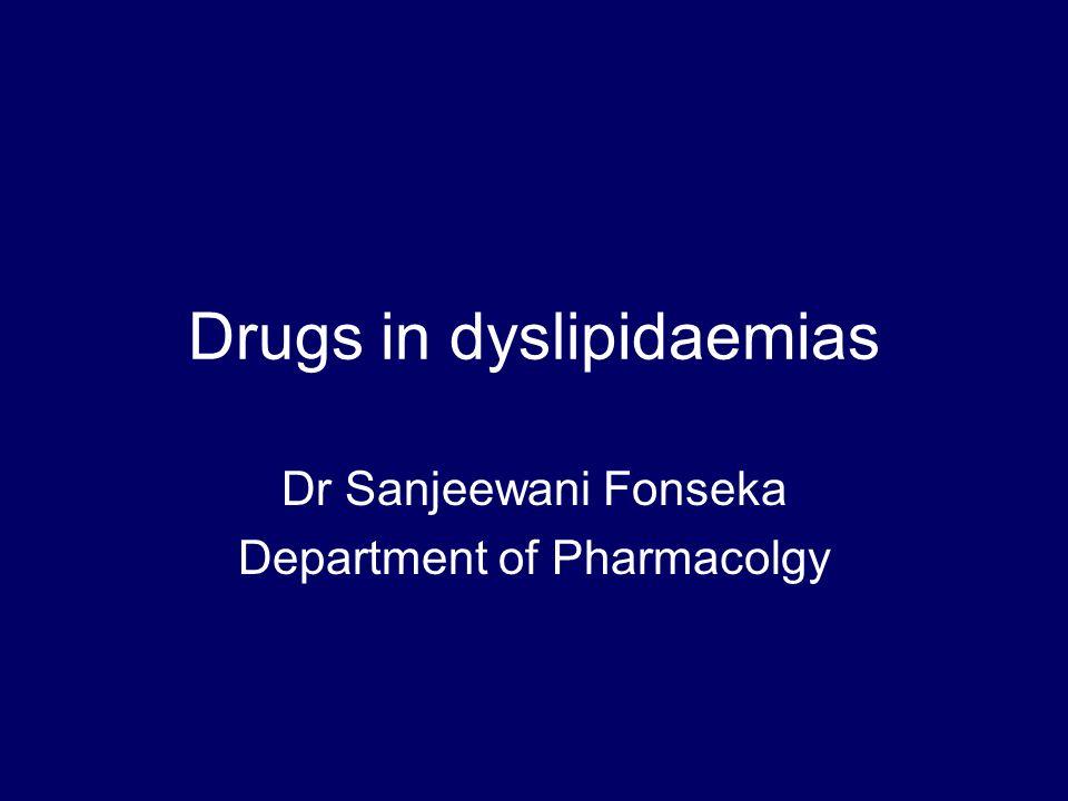 Summary Most important hyperlipidaemia is hypercholesterolaemia Most effective drug – statin Drugs reduce risk of MI