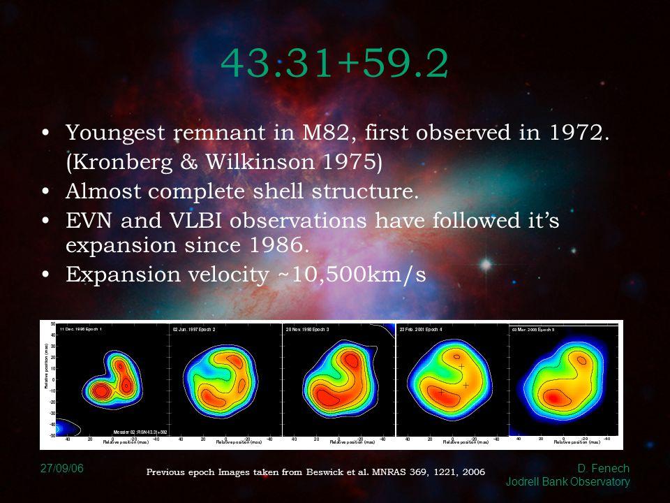 27/09/06 D.Fenech Jodrell Bank Observatory 43.31+59.2 Fit various deceleration parameters to data.
