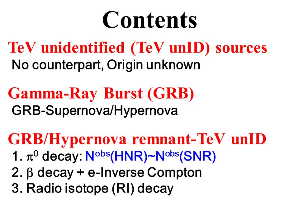 Summary TeV unID sources Dominant in TeV sky, Origin unknown Old GRB/Hypernova remnant N obs (HNR)~N obs (SNR) SNR may be more nearby and extended BH in unID.