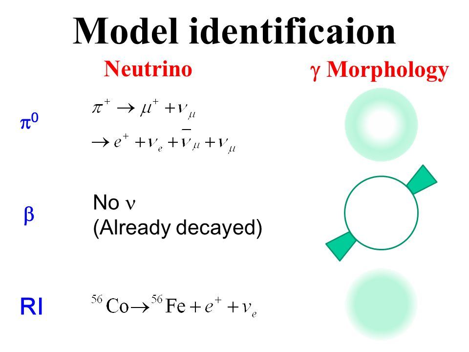 Model identificaion Neutrino  Morphology 00  No (Already decayed) RI