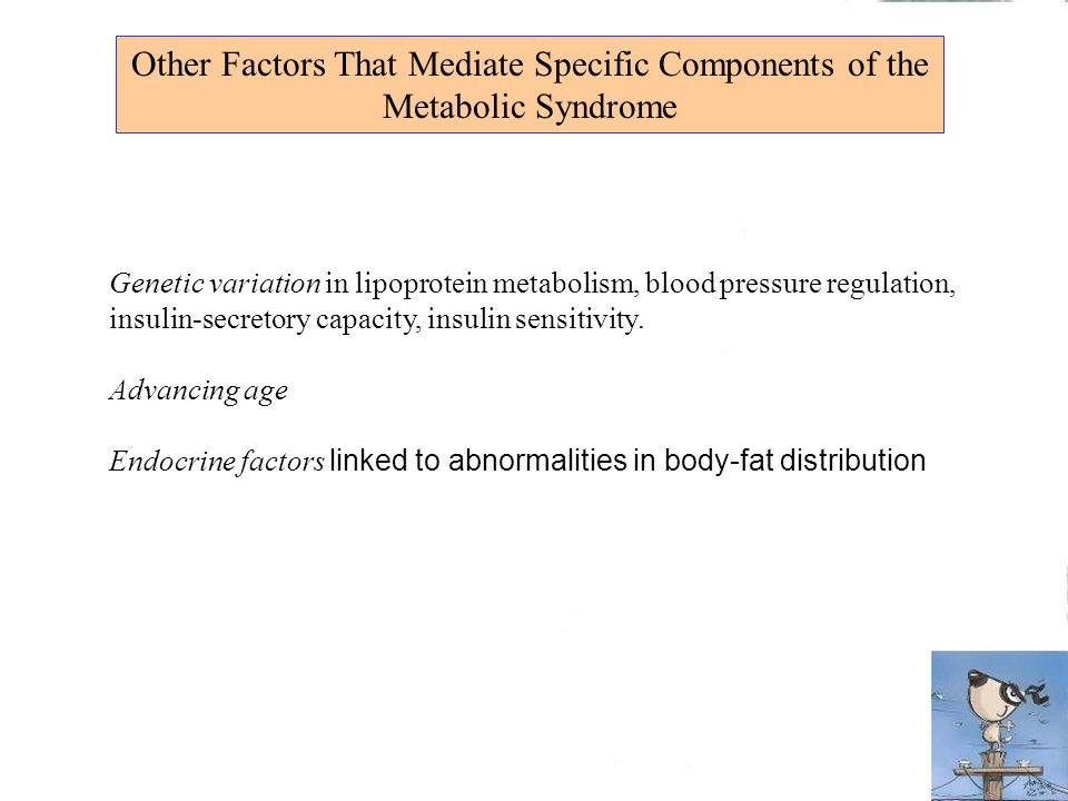 Other Factors That Mediate Specific Components of the Metabolic Syndrome Genetic variation in lipoprotein metabolism, blood pressure regulation, insul