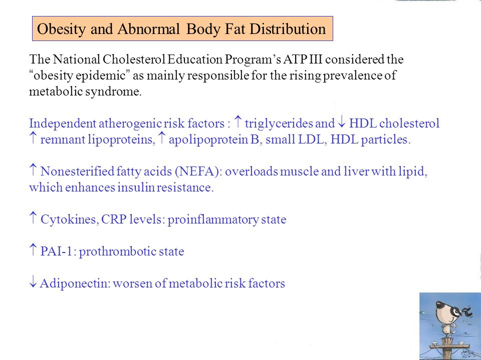 Obesity and Abnormal Body Fat Distribution The National Cholesterol Education Program's ATP III considered the obesity epidemic as mainly responsible for the rising prevalence of metabolic syndrome.