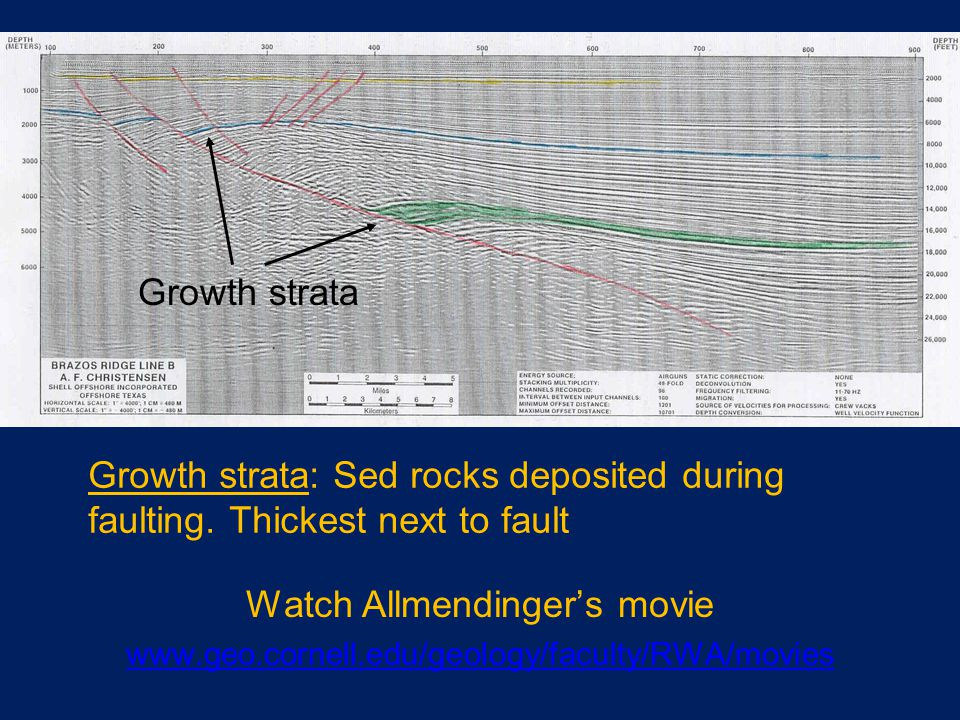 Watch Allmendinger's movie www.geo.cornell.edu/geology/faculty/RWA/movies Growth strata Growth strata: Sed rocks deposited during faulting.